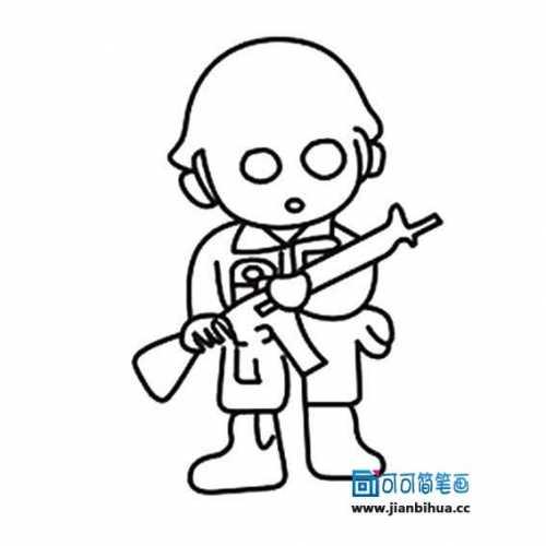 机关枪的简笔画 拿枪士兵简笔画